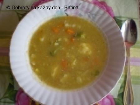 Krémová zeleninová polévka s cibulovými nočky.
