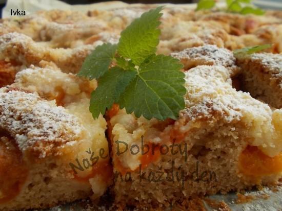 Meruňkovo- reveňový koláček s  perníkovým kořením a skořicí