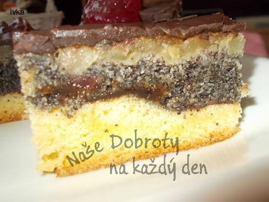 Hruškovo- jablečný koláč s povidly, mákem a jeblky