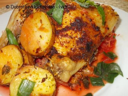 Pečené kuře na mrkvovo-řepném a zelném polštářku