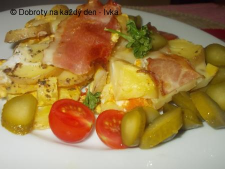 Žampionové brambory z česnekovou kýtou a mozzarellou