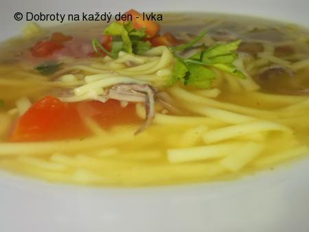 Kachní polévka  s  kari a venkovskými nudlemi