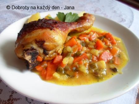 Kuřecí paličky na kari a zelenině