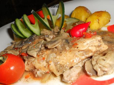 Kuřecí maso s drůbežími játry