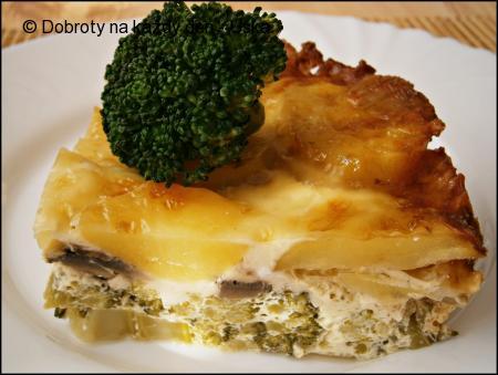 Brokolice zapečená se žampiony a bramborami
