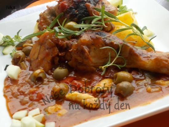 Kuře na  olivách,  rajčátkách a česneku- provensálský způsob