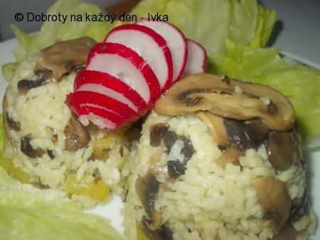 Ředkvičkovo-houbovo-paprikové rizoto