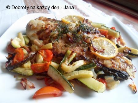 Platýz v grilované zelenině