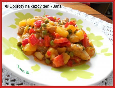 Pikantní kuřecí paella s bramborami