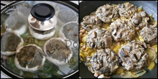 Žampiony plněné dušenými hříbky,podušené na špeku a pórku