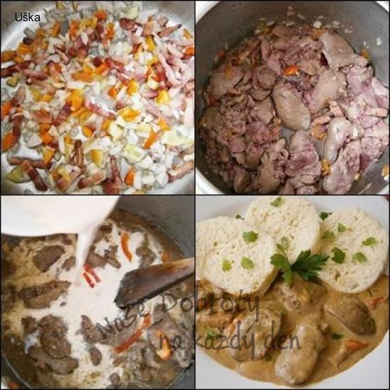 Kuřecí játra na smetaně,se slaninou a  čerstvou paprikou
