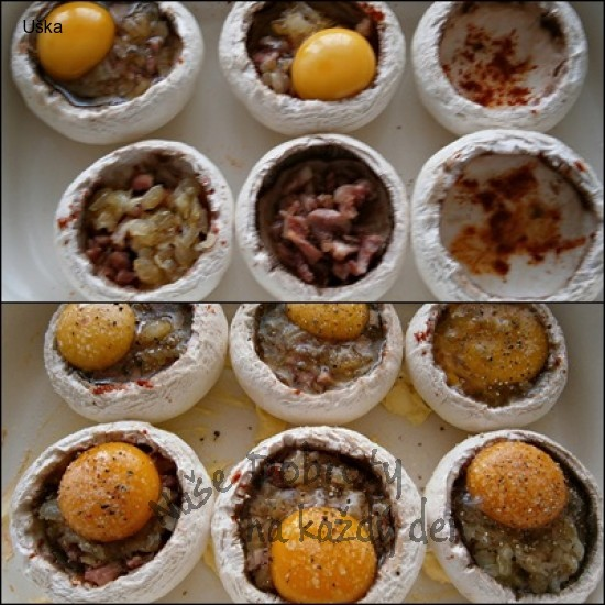 Žampiony s uzeným a vejci,zapečené s Mozzarellou