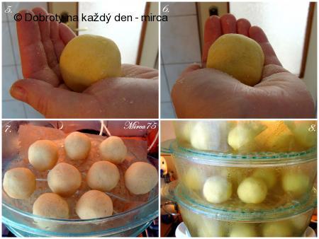Plněné bramborové knedlíky se švestkami - postup
