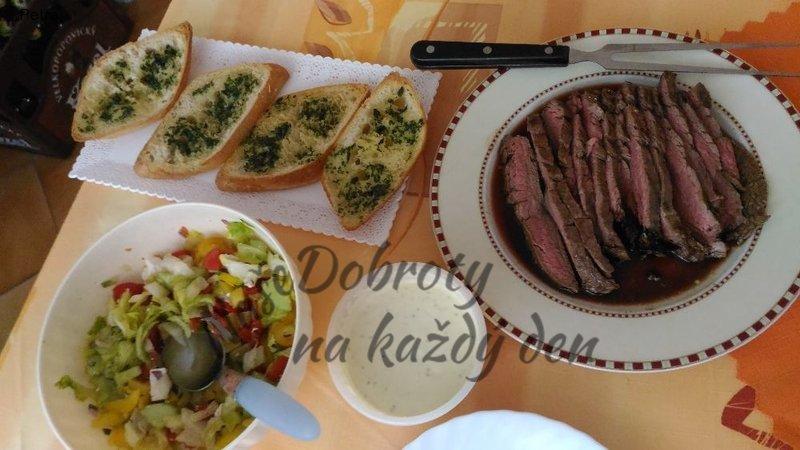 Flank steak s rozpečenou ciabattou