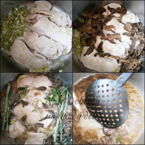 Kuřecí přírodní na cibulce a hříbkách