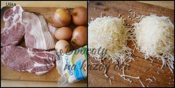 Krkovicové plátky se slaninou,sýrem a vejci