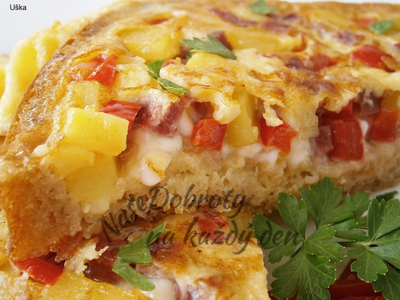 Selská omeleta v chlebu