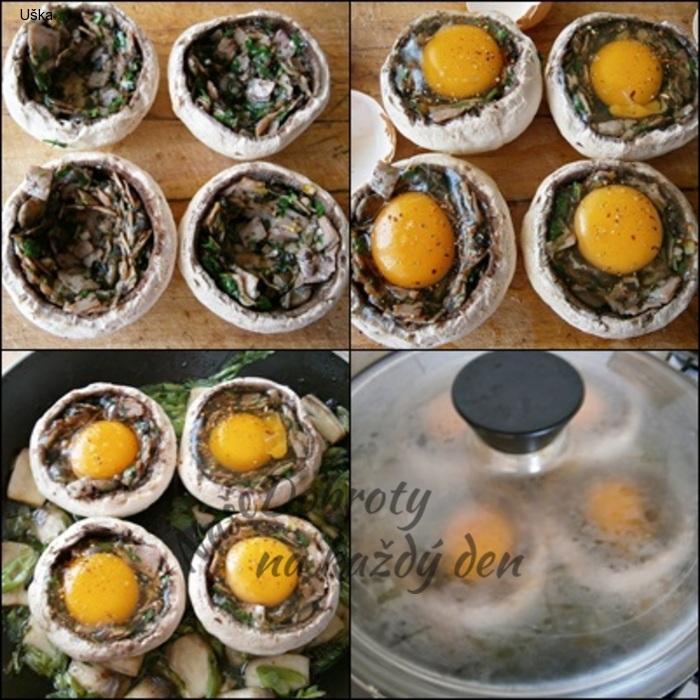 Žampiony se šunkou a vejci,dušené v pánvi